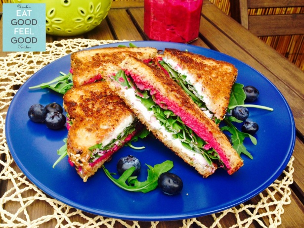 Beet Pesto Goat Cheese & Arugola Grilled Cheese