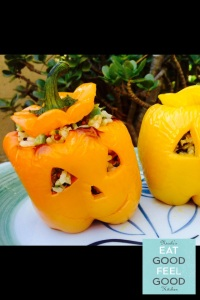 Jack-o'-lantern Stuffed Bell Peppers