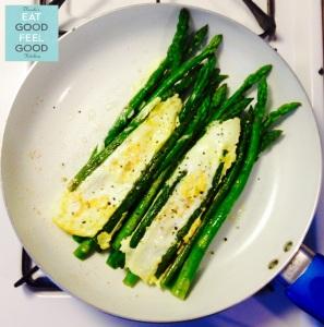 Asparagus & Eggs with Sriracha Sauce