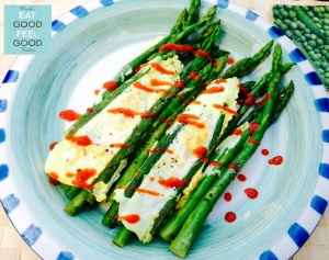 Asparagus & Eggs with Sriracha Sauce