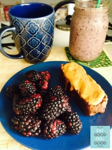 Breakfast Banana Walnut Oat Bread with PB & Berry Smoothie