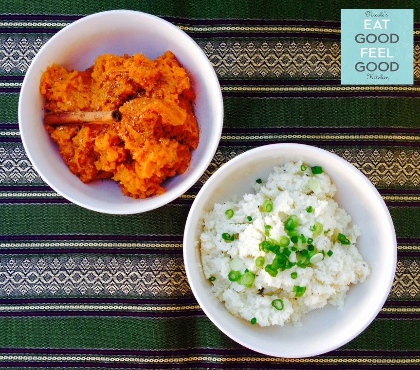 Gluten Free Garlic Cauliflower Mash & Cinnamon Organic Mashed Sweet Potatoes