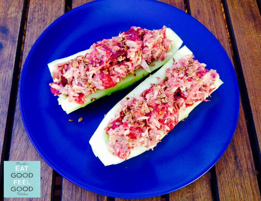 Cucumber Boat with Cranberry Orange Chutney Tuna Salad