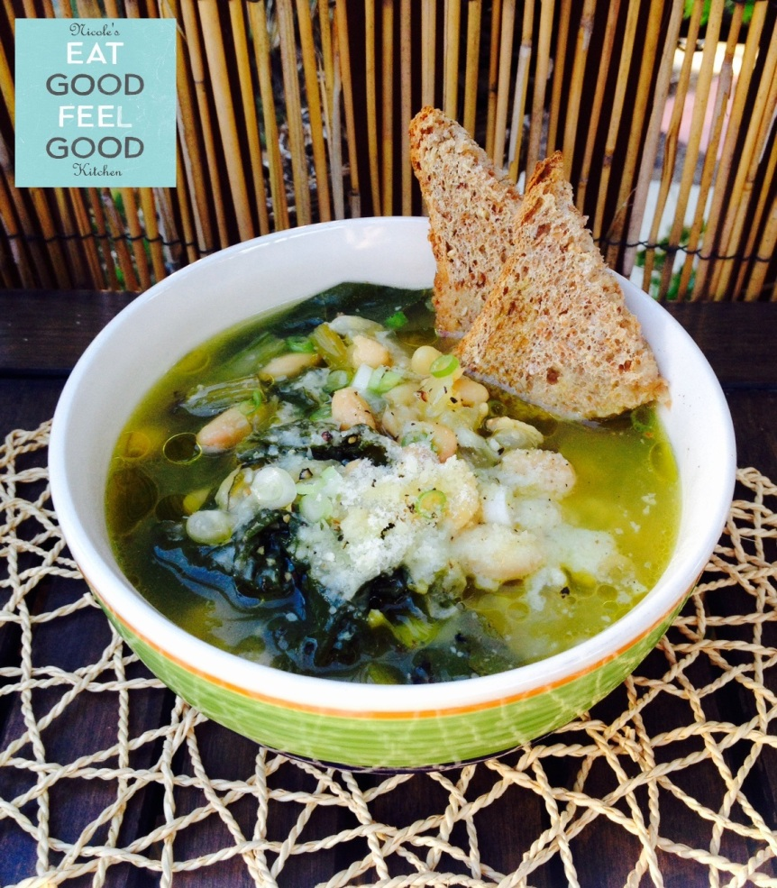 EARTHY WHITE BEANS & BEET GREENS SOUP