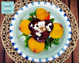 Organic Beet Salad with Balsamic Caramelized Onions & Goat Cheese