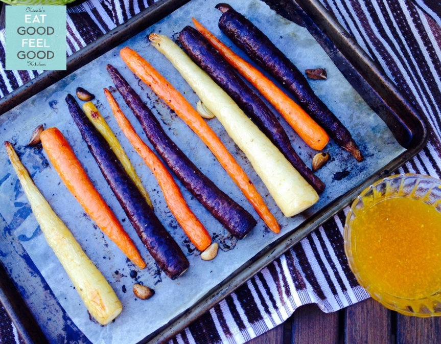 ROASTED ORGANIC HEIRLOOM CARROTS with HONEY-ORANGE GLAZE