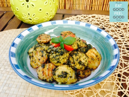 Gluten Free Cauliflower Gnocchi with Pesto Sauce